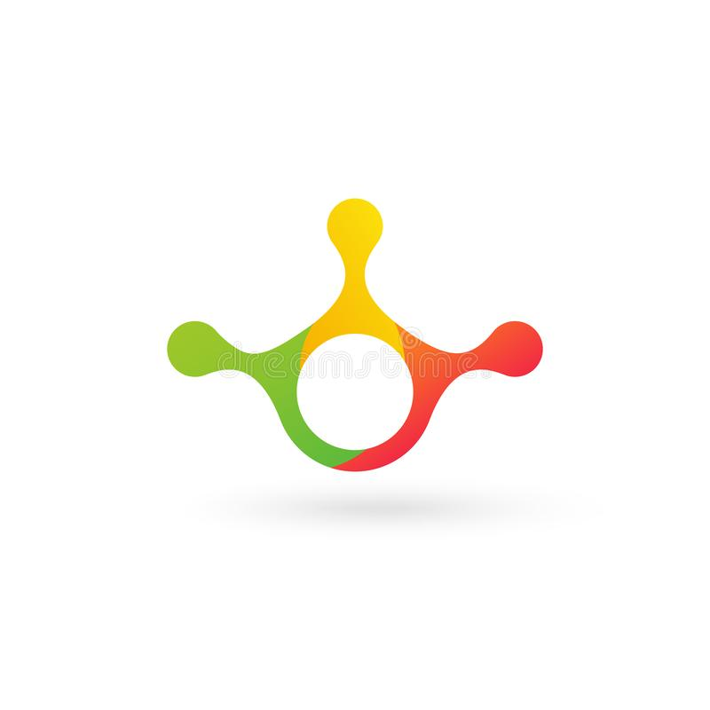 Πρότυπο χημείας της εργαστηριακής τεχνολογίας ή λογότυπου ευέλικτης βιολογίας σε τρία χρώματα Αφηρημένος μοριακός ευέλικτος λογότ διανυσματική απεικόνιση
