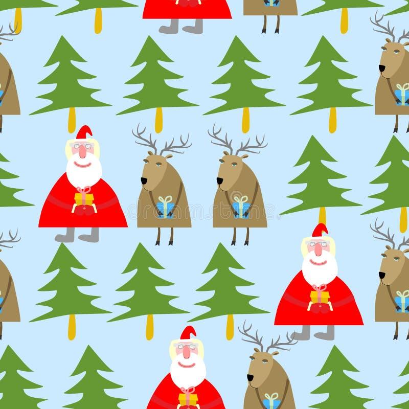 πρότυπο Χριστουγέννων άνευ ραφής Άγιος Βασίλης και τάρανδος με τα δώρα απεικόνιση αποθεμάτων