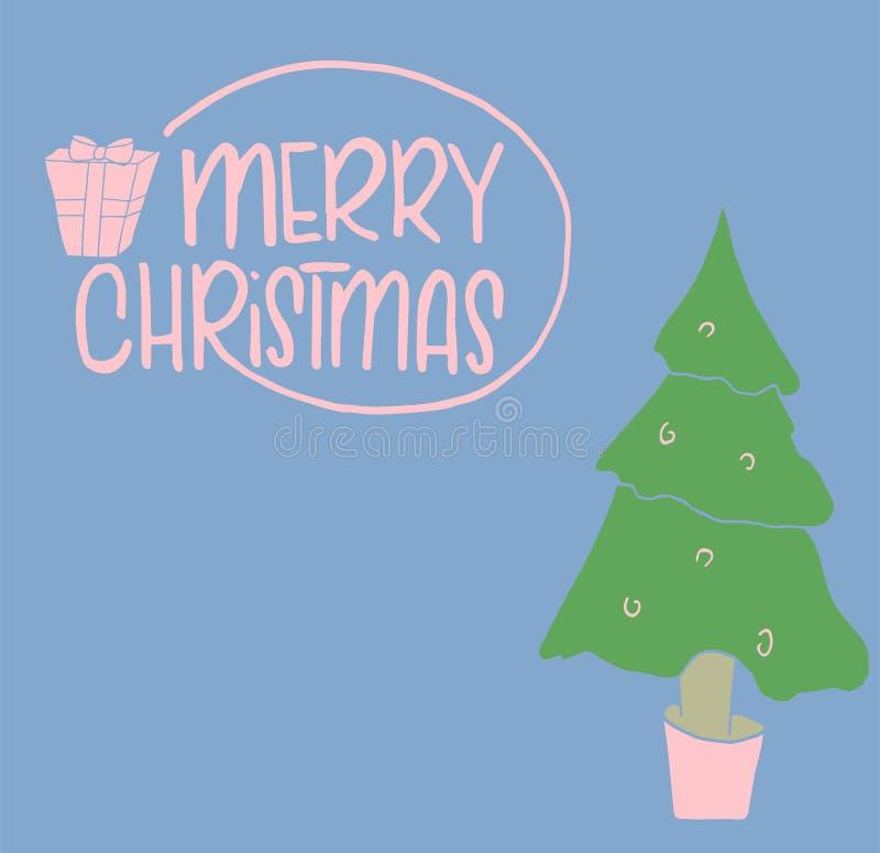 Πρότυπο Χριστουγέννων και του νέου έτους, με το δέντρο και το κιβώτιο για το χαιρετισμό, συγχαρητήρια, προσκλήσεις, ετικέττες, αυ ελεύθερη απεικόνιση δικαιώματος