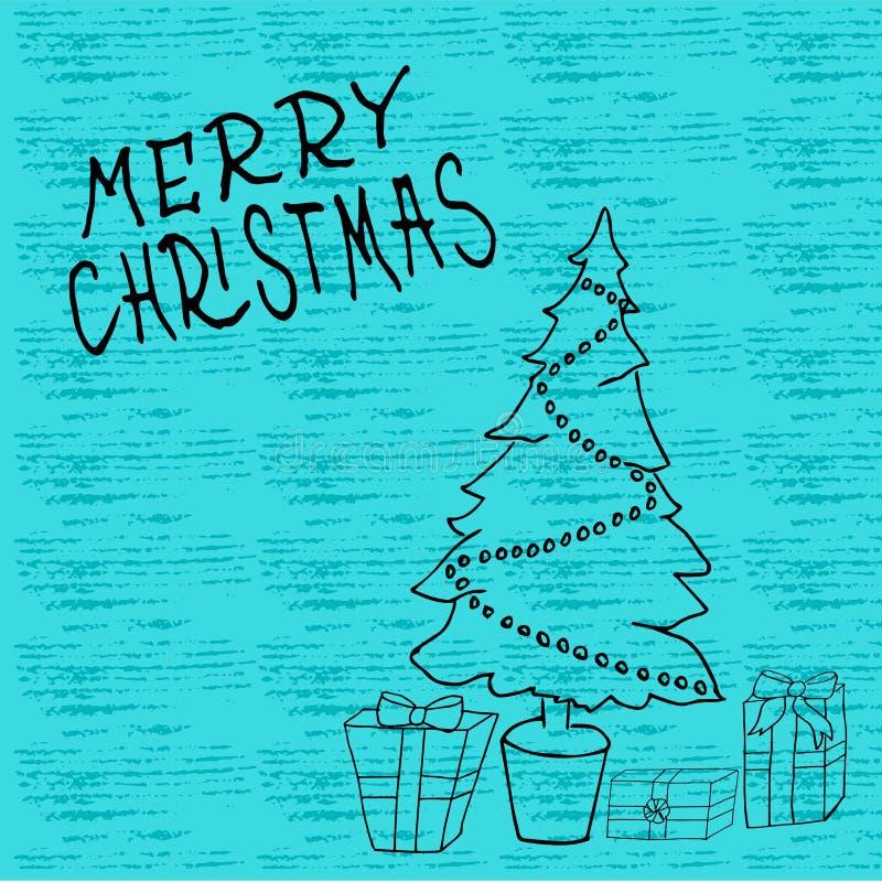 Πρότυπο Χριστουγέννων και του νέου έτους, με το δέντρο και το κιβώτιο για το χαιρετισμό, συγχαρητήρια, προσκλήσεις, ετικέττες, αυ διανυσματική απεικόνιση