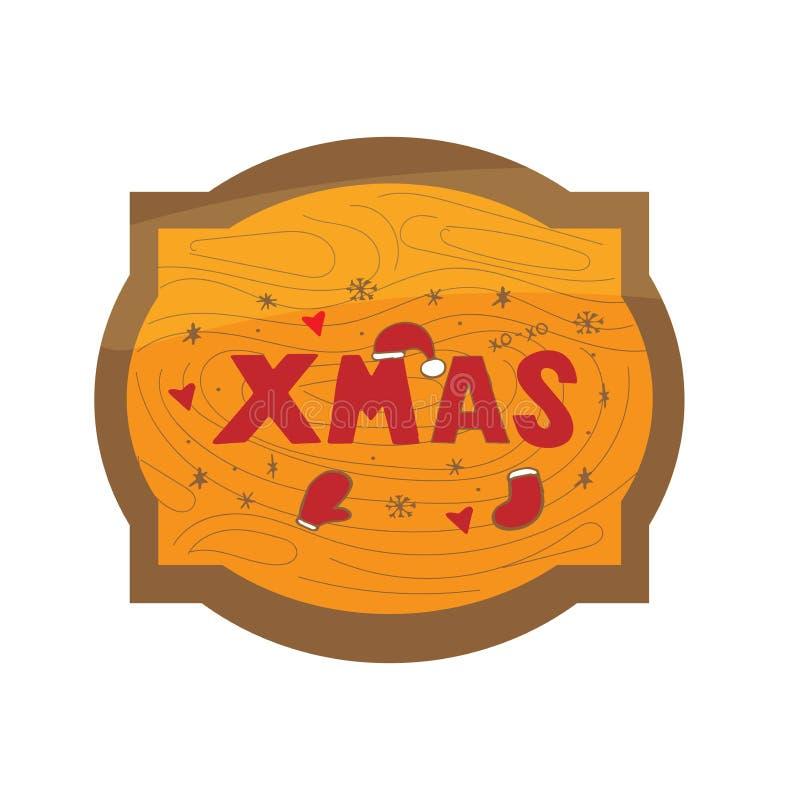 Πρότυπο Χριστουγέννων και του νέου έτους, πλαίσιο με την ξύλινη σύσταση για το χαιρετισμό, συγχαρητήρια, προσκλήσεις, ετικέττες,  διανυσματική απεικόνιση