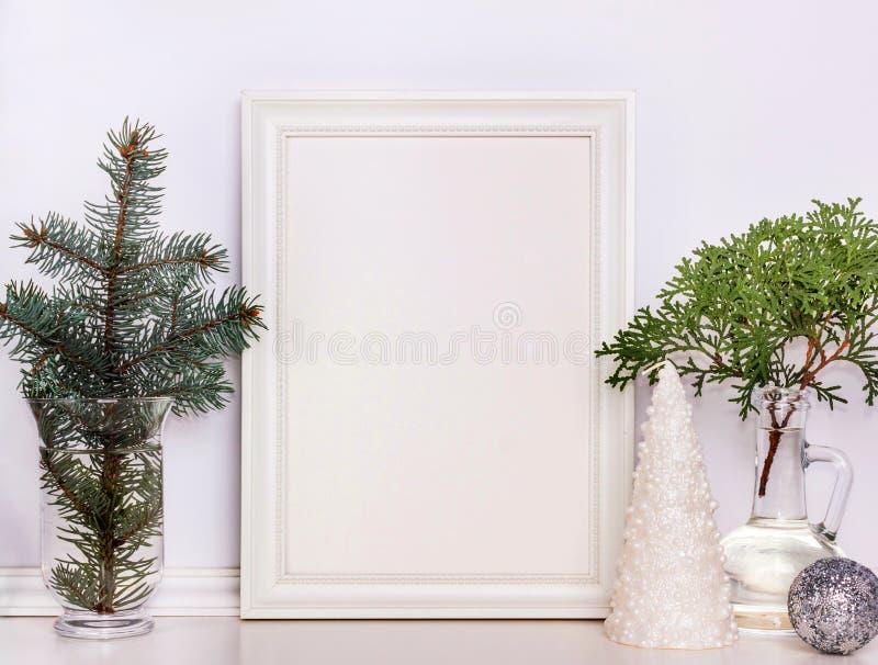 Πρότυπο Χριστουγέννων πλαισίων εικόνων, φωτογραφία αποθεμάτων στοκ φωτογραφίες με δικαίωμα ελεύθερης χρήσης