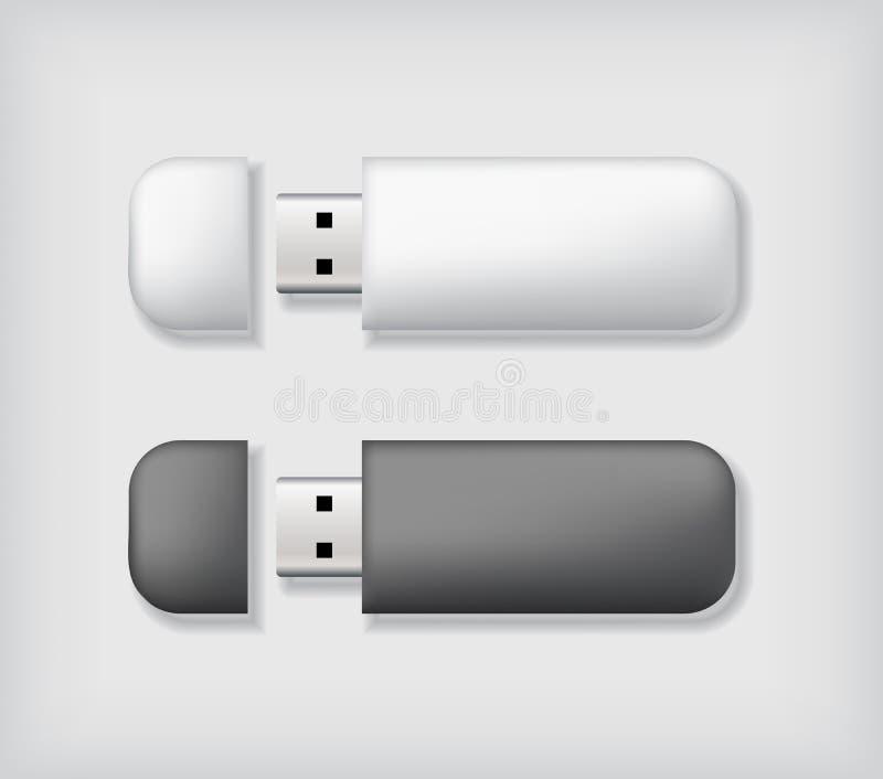 Πρότυπο δύο usb ραβδιών μνήμης διανυσματική απεικόνιση