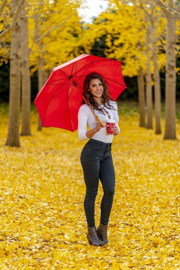 Πρότυπο Brunette που απολαμβάνει μια ημέρα πτώσης στο φύλλωμα πτώσης με μια κόκκινη ομπρέλα στοκ εικόνες