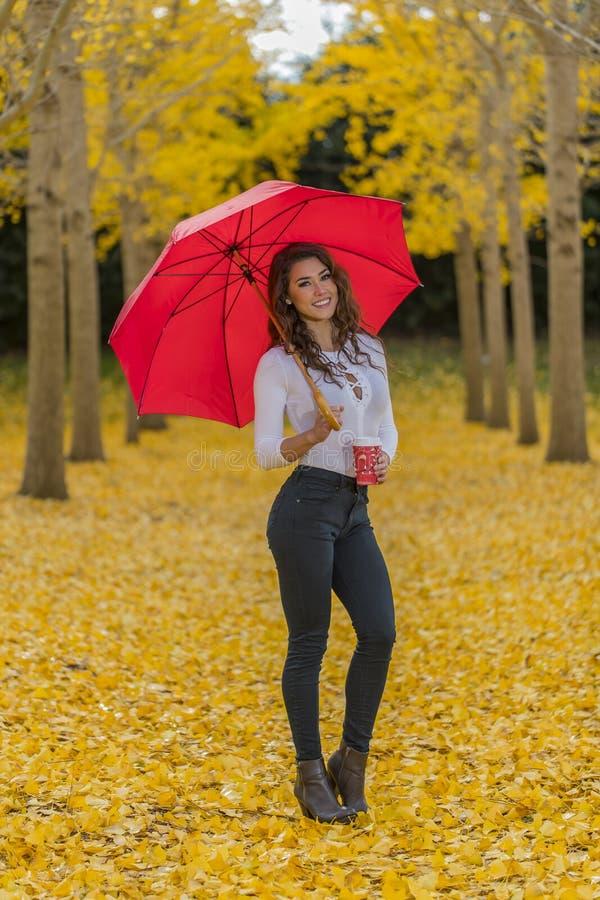 Πρότυπο Brunette στο φύλλωμα πτώσης με την ομπρέλα και το ποτό στοκ φωτογραφία με δικαίωμα ελεύθερης χρήσης