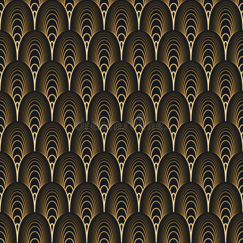 πρότυπο deco τέχνης άνευ ραφής μαύρος χρυσός απεικόνιση αποθεμάτων