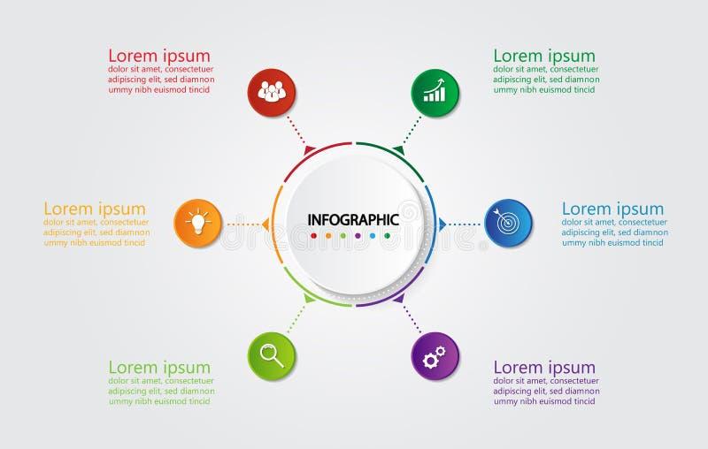 Πρότυπο Infographic για την επιχείρηση με 6 επιλογές, επιχειρησιακά στοιχεία απεικόνιση αποθεμάτων