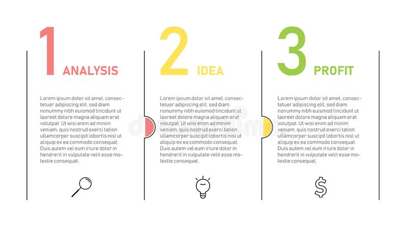 Πρότυπο Infographic για την επιχειρησιακή παρουσίαση Λεπτό σχέδιο γραμμών με τους αριθμούς 3 επιλογές ή βήματα ελεύθερη απεικόνιση δικαιώματος