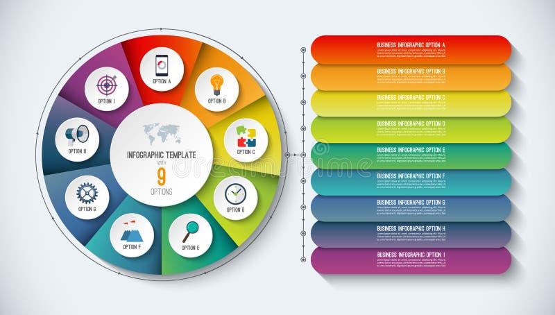 Πρότυπο Infographic επίσης corel σύρετε το διάνυσμα απεικόνισης Αφηρημένο έμβλημα με 9 βήματα, επιλογές απεικόνιση αποθεμάτων