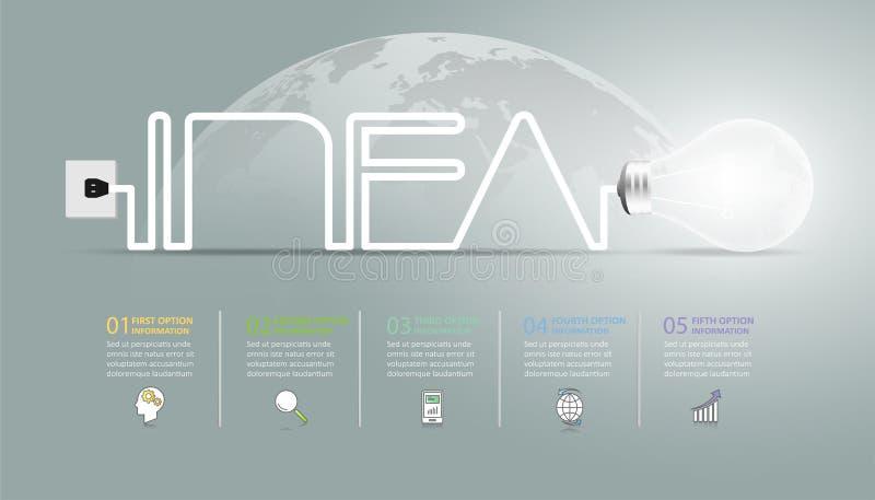 Πρότυπο Infographic ιδέας σχεδίου lightbulb, infographic 5 επιλογές επιχειρησιακής έννοιας ελεύθερη απεικόνιση δικαιώματος
