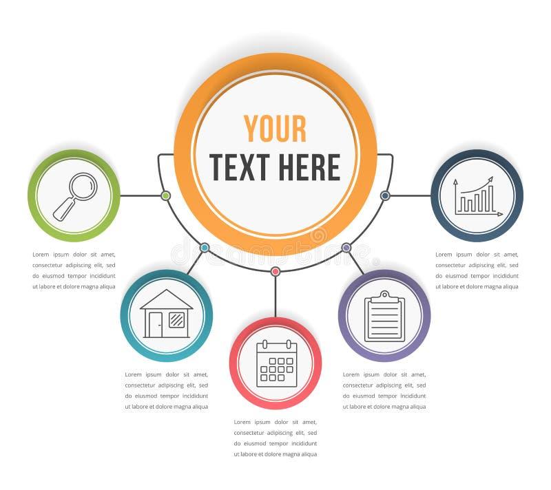Πρότυπο Infographic με πέντε βήματα διανυσματική απεικόνιση