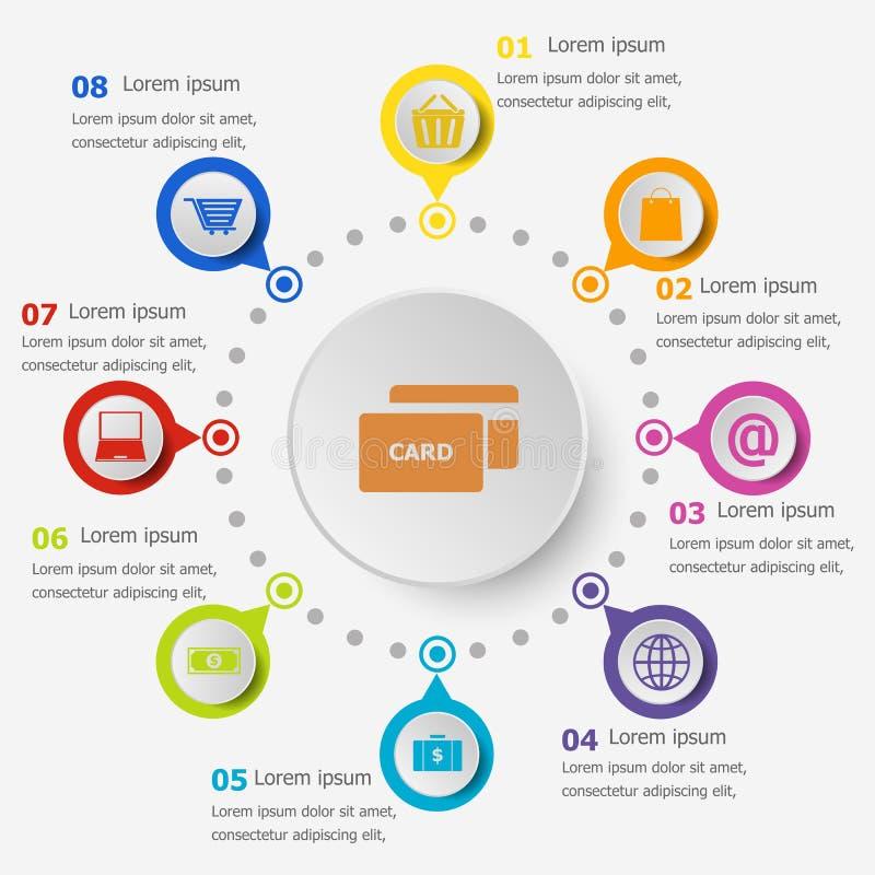 Πρότυπο Infographic με τα εικονίδια ηλεκτρονικού εμπορίου απεικόνιση αποθεμάτων