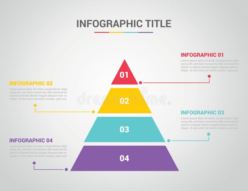 Πρότυπο Infographic με το ύφος πυραμίδων με το ελεύθερου χώρου κείμενο για την περιγραφή με 4 διαδικασία τεσσάρων βημάτων με το κ απεικόνιση αποθεμάτων