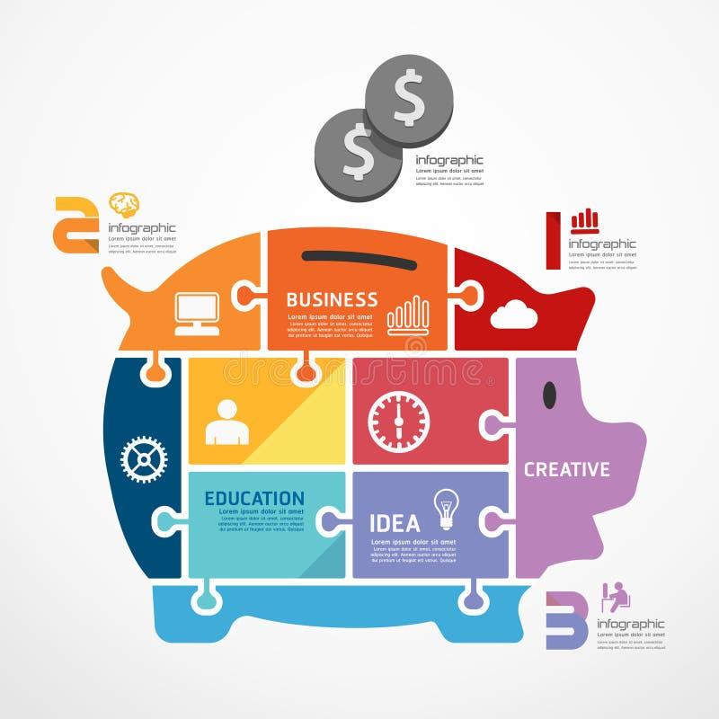 Πρότυπο Infographic με το piggy έμβλημα τορνευτικών πριονιών τραπεζών. απεικόνιση αποθεμάτων