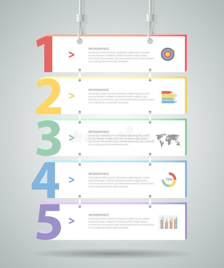 Πρότυπο 5 Infographic σχεδίου βήματα για την επιχειρησιακή έννοια απεικόνιση αποθεμάτων