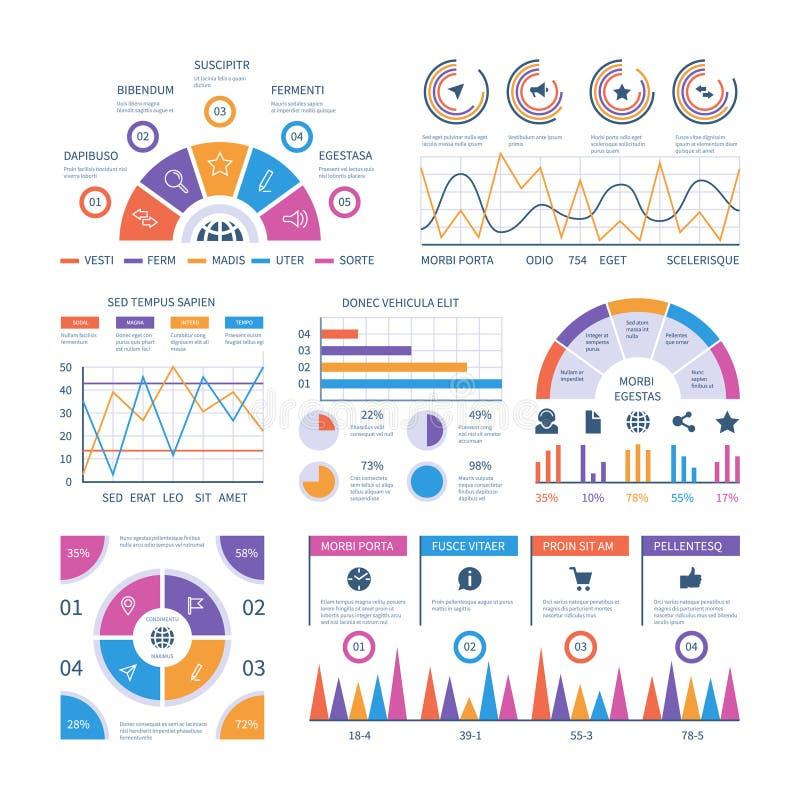 Πρότυπο Infographic Ταμπλό, γραφικές παραστάσεις χρηματοδότησης φραγμών, διάγραμμα πιτών και διαγράμματα γραμμών Αναλυτικό διανυσ ελεύθερη απεικόνιση δικαιώματος