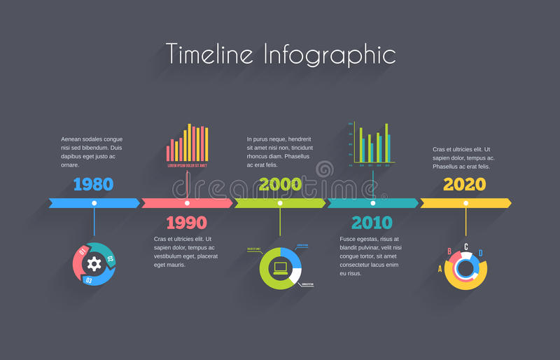Πρότυπο Infographic υπόδειξης ως προς το χρόνο διανυσματική απεικόνιση