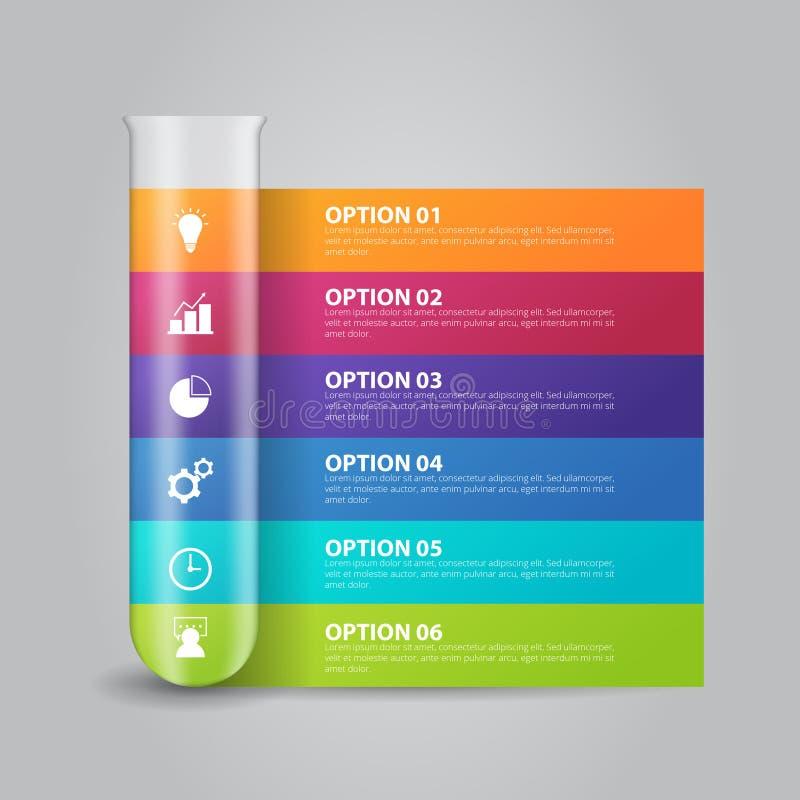 Πρότυπο infographics εργαστηριακών γυαλικών για την επιχείρηση, εκπαίδευση, σχέδιο Ιστού, εμβλήματα, φυλλάδια, ιπτάμενα διανυσματική απεικόνιση