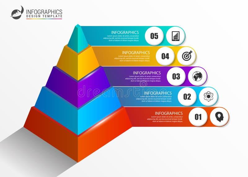 Πρότυπο Infographics Ζωηρόχρωμη έννοια πυραμίδων με τις επιλογές απεικόνιση αποθεμάτων
