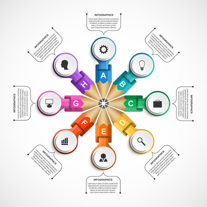 Πρότυπο Infographics με το χρωματισμένο μολύβι Μολύβια σε έναν κύκλο υπό μορφή κορδελλών απεικόνιση αποθεμάτων
