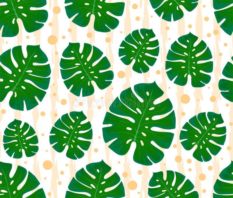πρότυπο monstera άνευ ραφής τυπωμένη ύλη με τα φύλλα Σχέδιο των κλωστοϋφαντουργικών προϊόντων και των υφασμάτων Καθιερώνοντα τη μ ελεύθερη απεικόνιση δικαιώματος