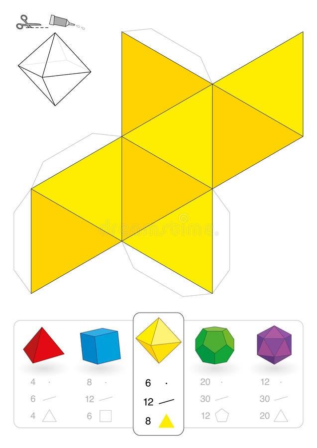 Πρότυπο Octahedron εγγράφου διανυσματική απεικόνιση