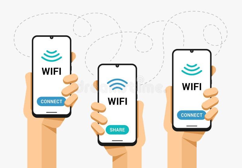Πρότυπο Smartphone στο ανθρώπινο χέρι Το μερίδιο σημάτων Wifi και συνδέει Συνδετικότητα ζώνης δικτύων Διανυσματική επίπεδη ζωηρόχ ελεύθερη απεικόνιση δικαιώματος