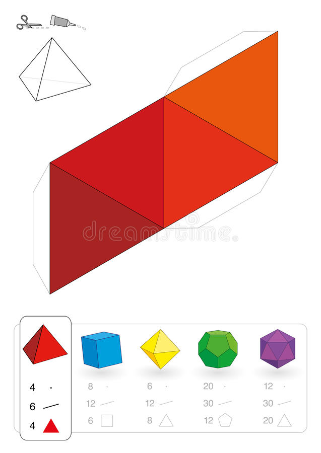 Πρότυπο Tetrahedron εγγράφου διανυσματική απεικόνιση