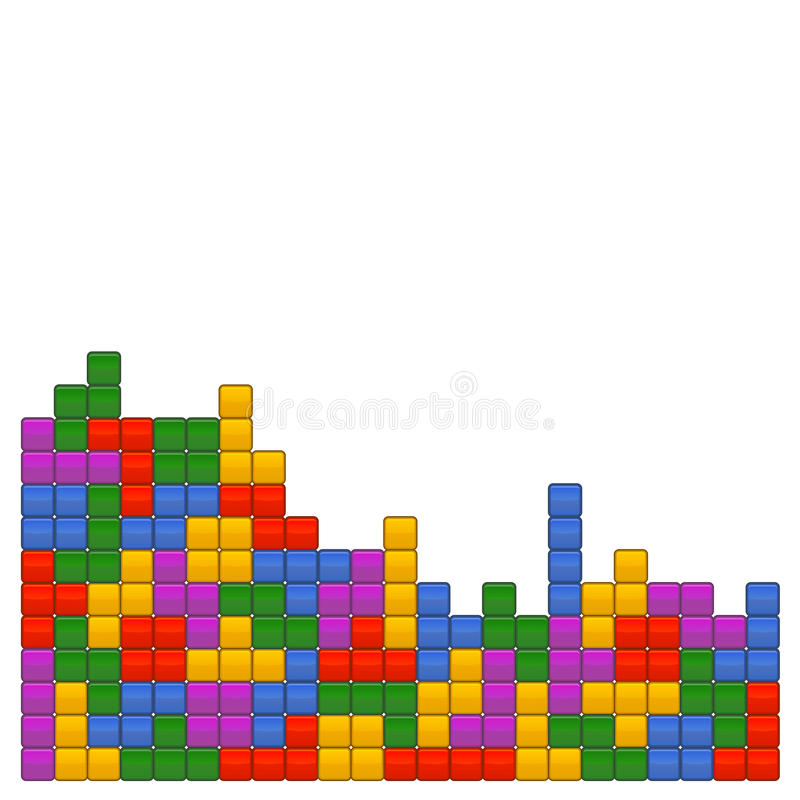 Πρότυπο Tetris τούβλου παιχνιδιών στο άσπρο υπόβαθρο διάνυσμα ελεύθερη απεικόνιση δικαιώματος