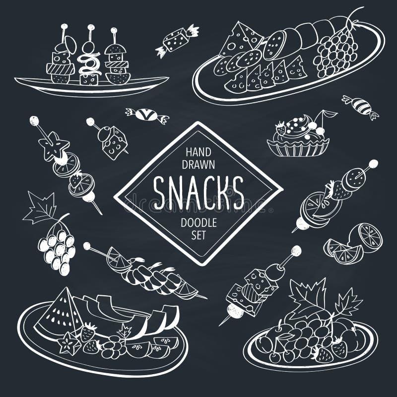 Πρόχειρα φαγητά Doodle απεικόνιση αποθεμάτων