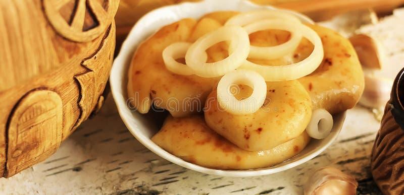 Πρόχειρο φαγητό με τα ρωσικά αλατισμένα μανιτάρια στοκ εικόνες