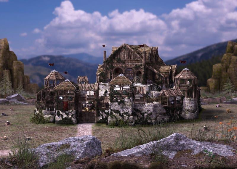 Πρόωρο μεσαιωνικό φρούριο Βίκινγκ του Castle φαντασίας Northic απεικόνιση αποθεμάτων