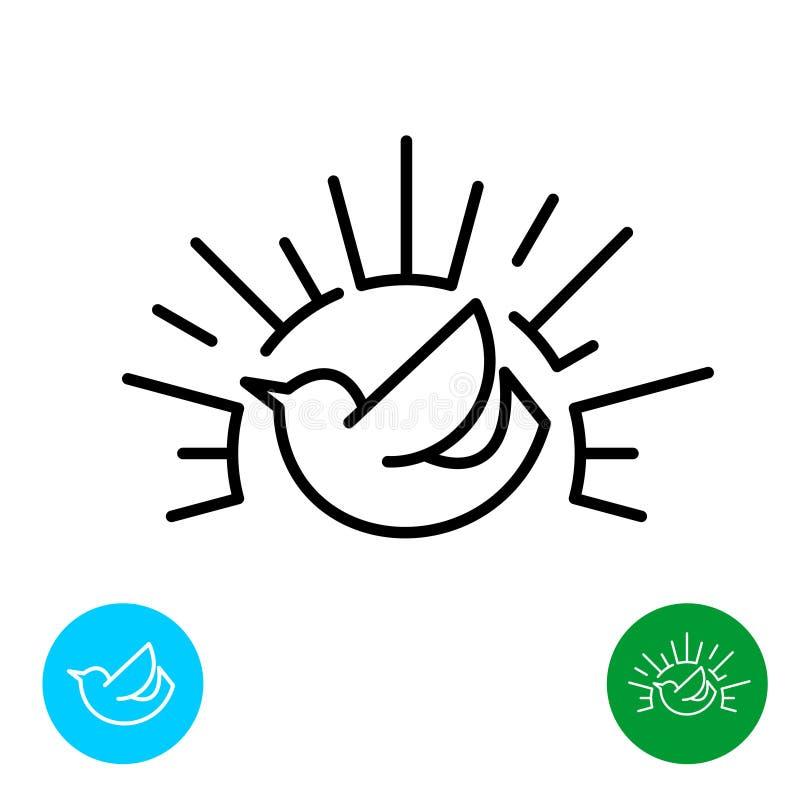 Πρόωρο πουλί με το λογότυπο ύφους γραμμών ακτίνων ήλιων απεικόνιση αποθεμάτων