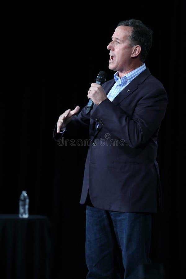 Πρώην Ηνωμένος γερουσιαστής από Πενσυλβανία, δημοκρατικό Rick Santorum, εκστρατείες για την προεδρία στοκ φωτογραφία
