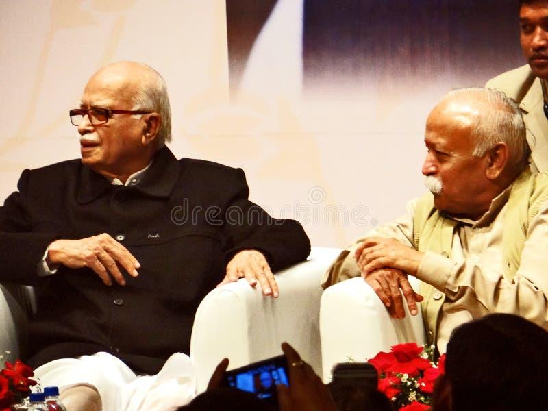 Πρώην ινδικοί αναπληρωτής πρωθυπουργός και Mohan Bhagwat της LK Adwani στοκ εικόνες