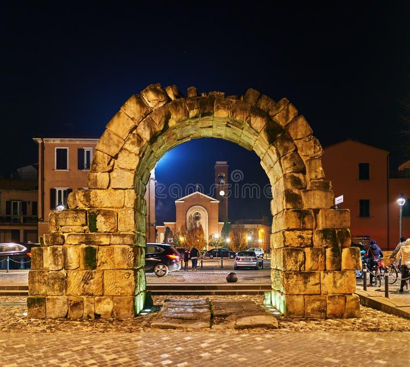 Πρώην πύλη Porta Montanara πόλεων σε Rimini, Ιταλία στοκ φωτογραφία με δικαίωμα ελεύθερης χρήσης