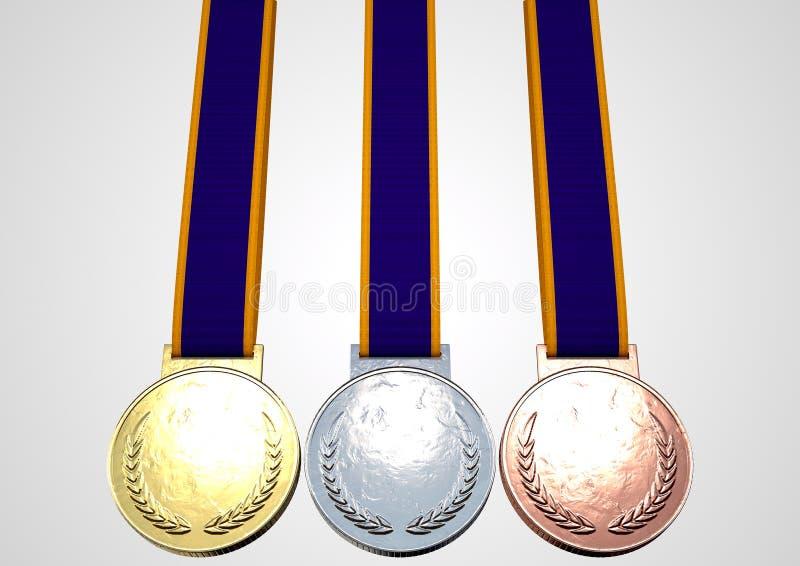 Πρώτα δεύτερα και τρίτα μετάλλια διανυσματική απεικόνιση