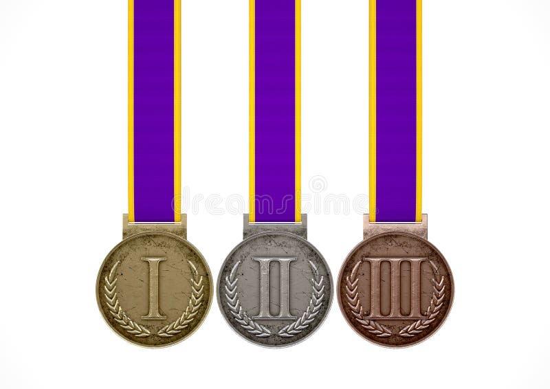 Πρώτα δεύτερα και τρίτα μετάλλια στοκ εικόνα