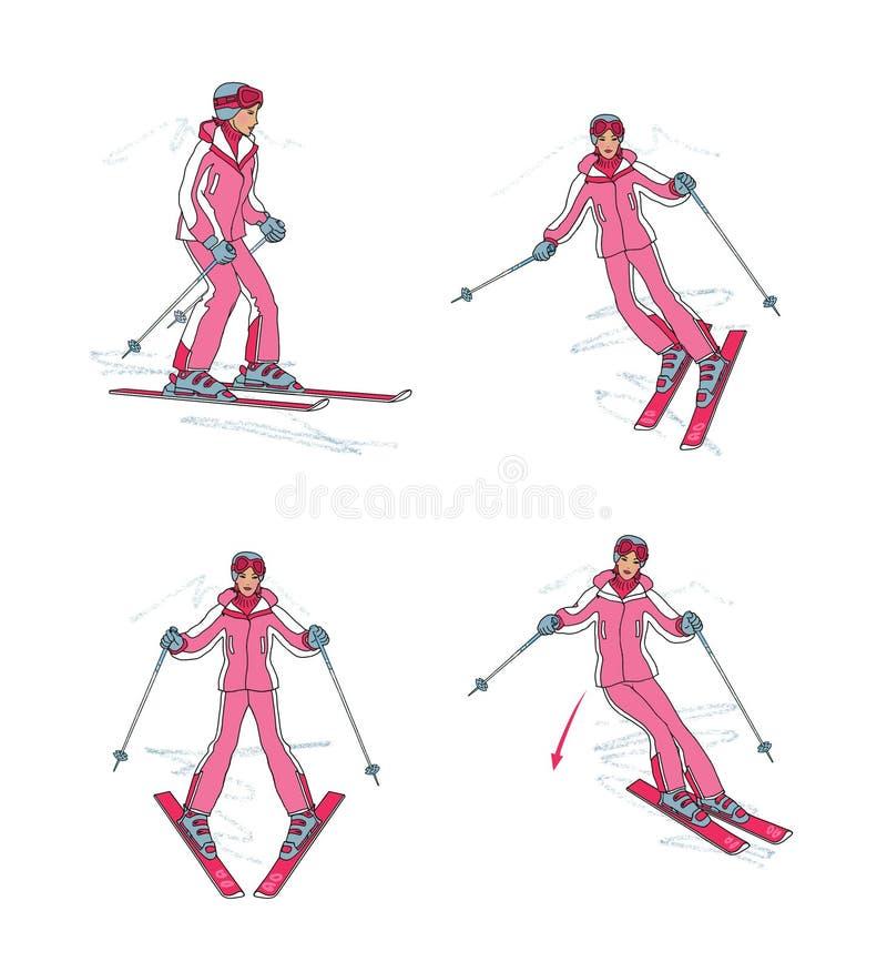 Πρώτα μαθήματα να κάνει σκι, που απομονώνονται στο άσπρο υπόβαθρο ελεύθερη απεικόνιση δικαιώματος