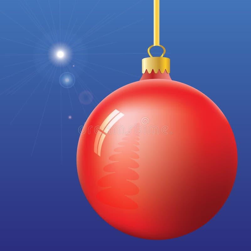 Πρώτες αστέρι και σφαίρα Παραμονής Χριστουγέννων ελεύθερη απεικόνιση δικαιώματος