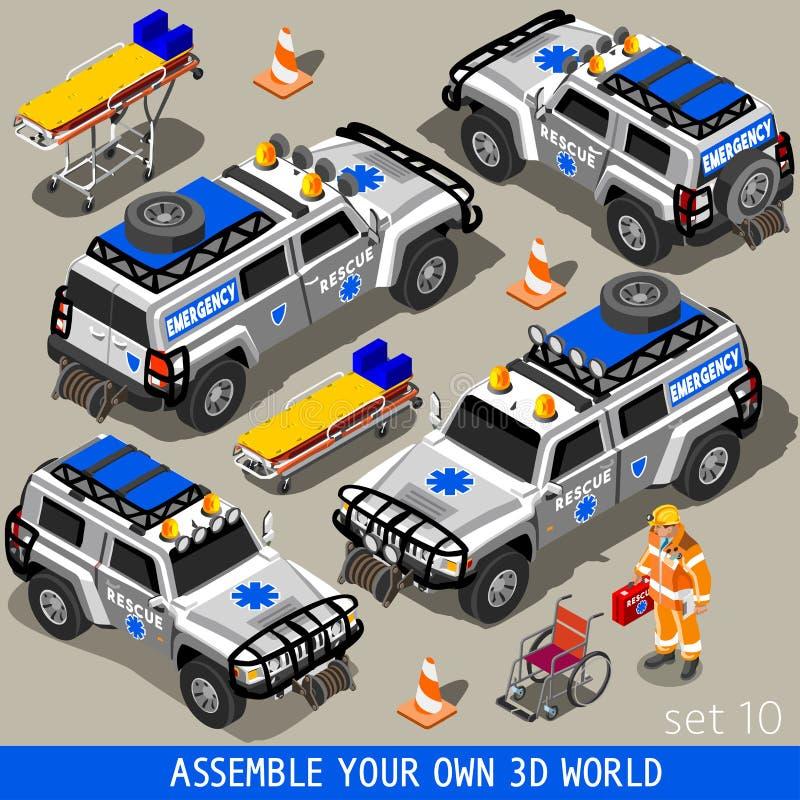 Πρώτες βοήθειες 02 όχημα Isometric ελεύθερη απεικόνιση δικαιώματος