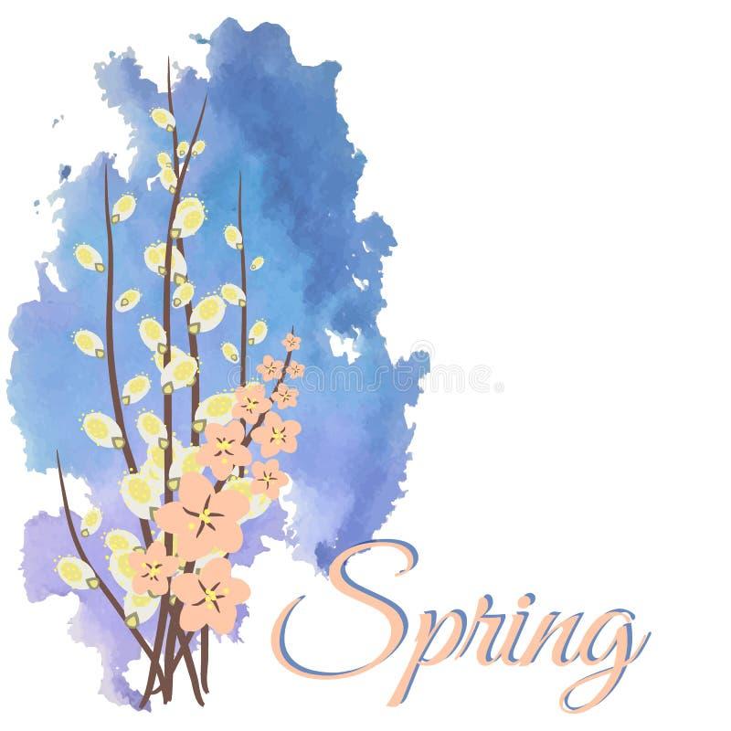 πρώτη άνοιξη λουλουδιών υψηλό watercolor ποιοτικής ανίχνευσης ζωγραφικής διορθώσεων πλίθας photoshop πολύ αφίσα ελεύθερη απεικόνιση δικαιώματος