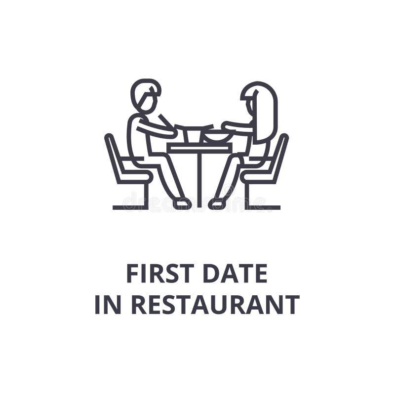 Πρώτη ημερομηνία στο λεπτό εικονίδιο γραμμών εστιατορίων, σημάδι, σύμβολο, illustation, γραμμική έννοια, διάνυσμα διανυσματική απεικόνιση