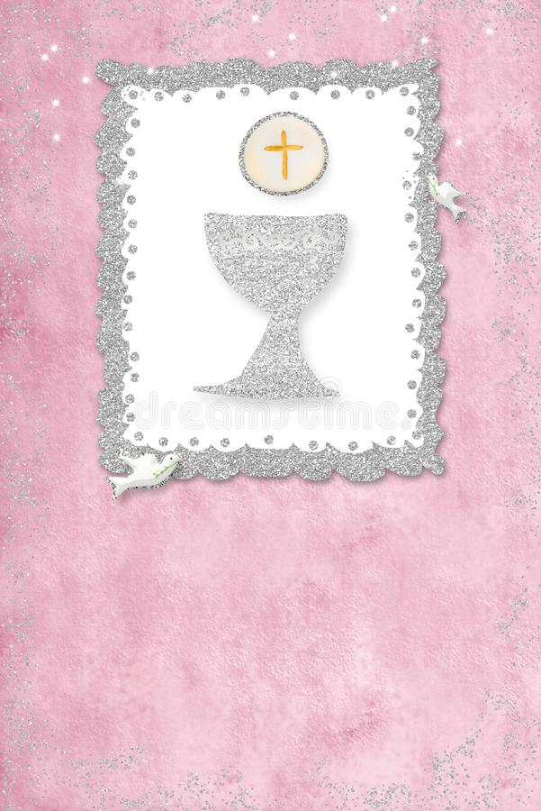 Πρώτη ιερή κάρτα πρόσκλησης κοινωνίας : στοκ εικόνα με δικαίωμα ελεύθερης χρήσης