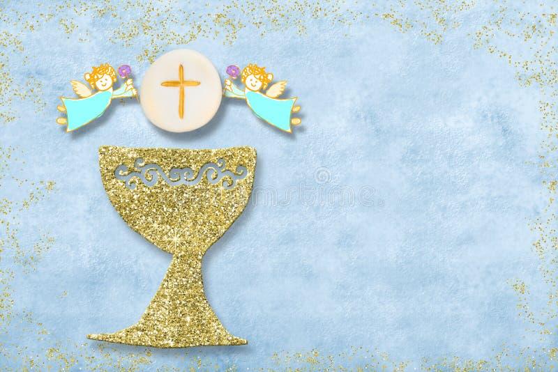 Πρώτη ιερή κάρτα πρόσκλησης κοινωνίας στοκ εικόνες