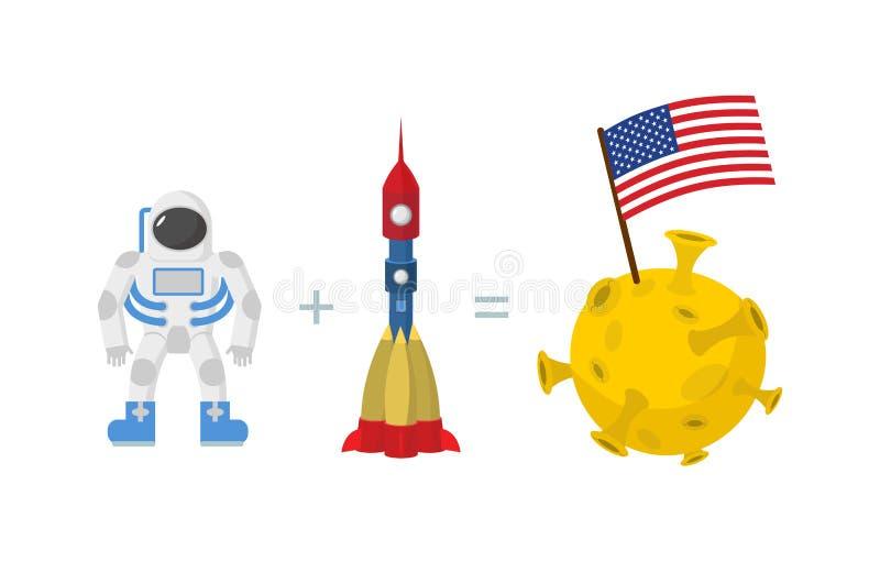 Πρώτος αστροναύτης στο φεγγάρι Αμερικανική σημαία στο φεγγάρι Διαστημικός πύραυλος διανυσματική απεικόνιση