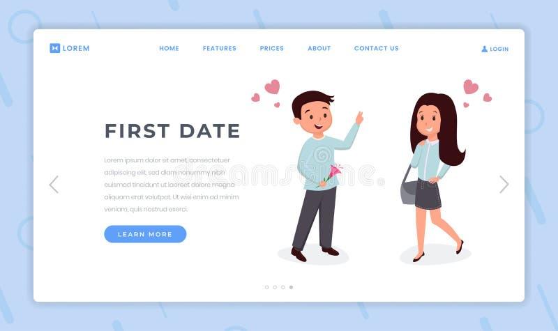 Πρώτο επίπεδο πρότυπο σελίδων ημερομηνίας προσγειωμένος Νέα αγάπη, ρομαντικά συναισθήματα σπουδαστών, σχέσεις, χαμογελώντας άτομο απεικόνιση αποθεμάτων