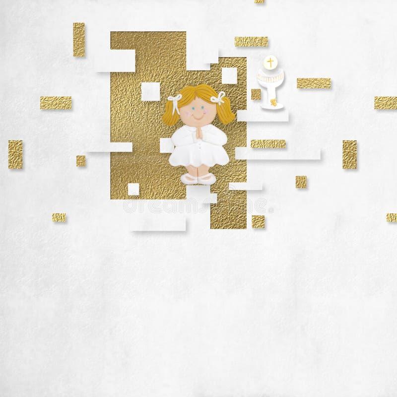 Πρώτο ιερό ξανθό κορίτσι καρτών κοινωνίας στοκ εικόνα με δικαίωμα ελεύθερης χρήσης