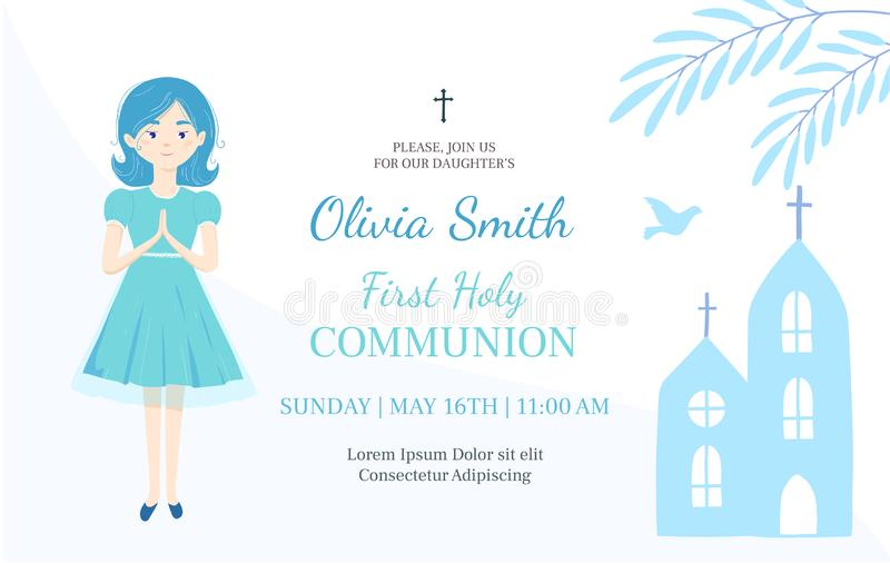 Πρώτο ιερό πρότυπο σχεδίου πρόσκλησης κοινωνίας Το χριστιανικό κορίτσι προσεύχεται απεικόνιση αποθεμάτων