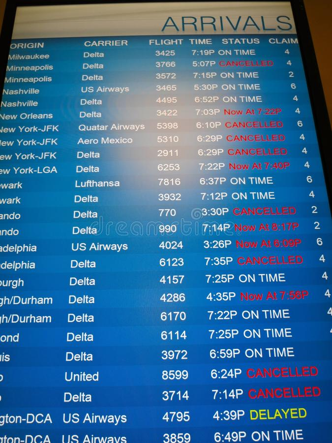 Πτήσεις που ακυρώνονται -- Κρύο χειμερινής 2014 το πολικό δίνης ακυρώνει τις πτήσεις σε ολόκληρη τη χώρα στοκ εικόνα